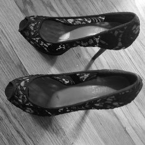 Black Lace Open Toed Heels